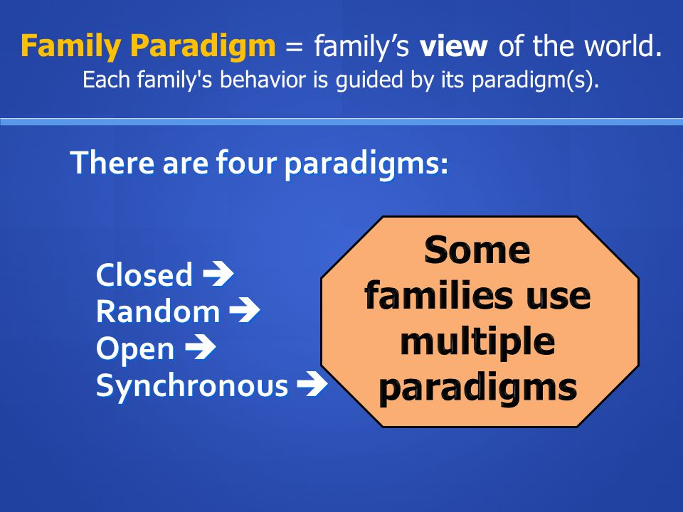 Some families use multiple paradigms