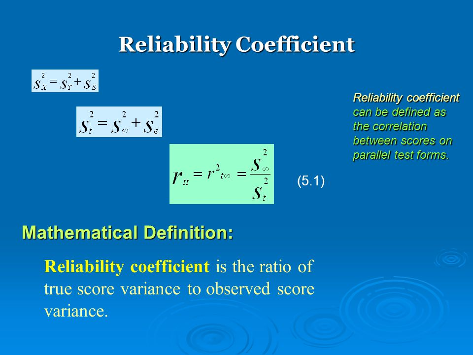 Reliability Coefficient