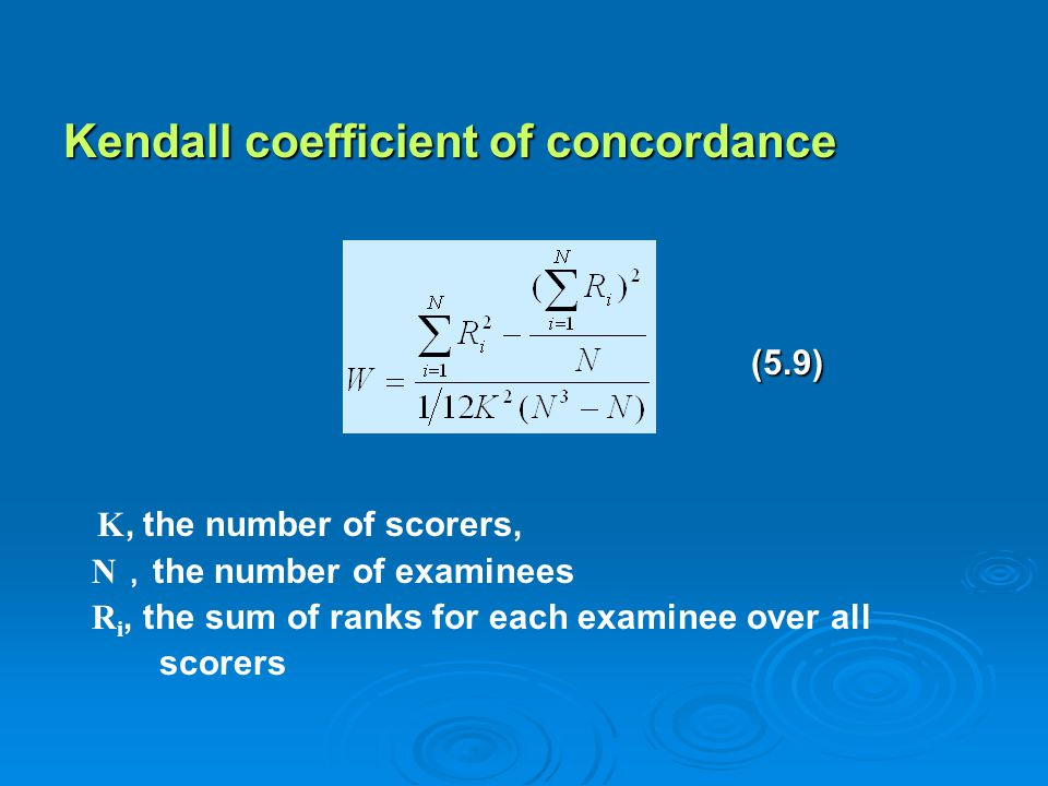 Kendall coefficient of concordance