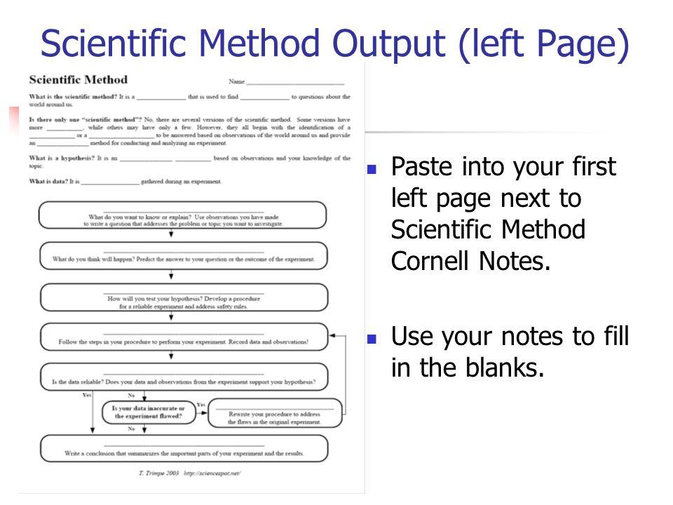 Scientific Method Output (left Page)