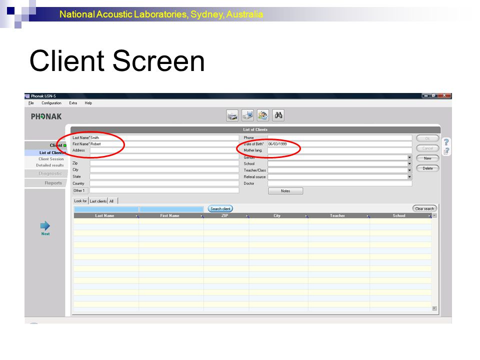 Client Screen