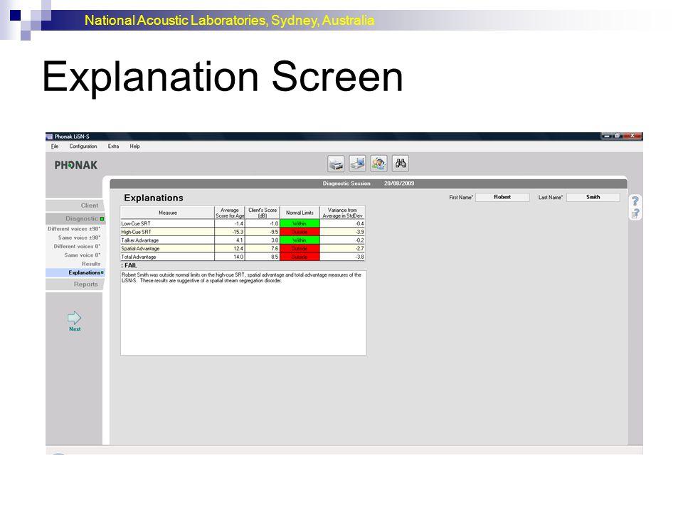 Explanation Screen