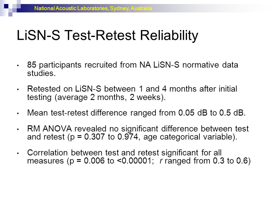 LiSN-S Test-Retest Reliability
