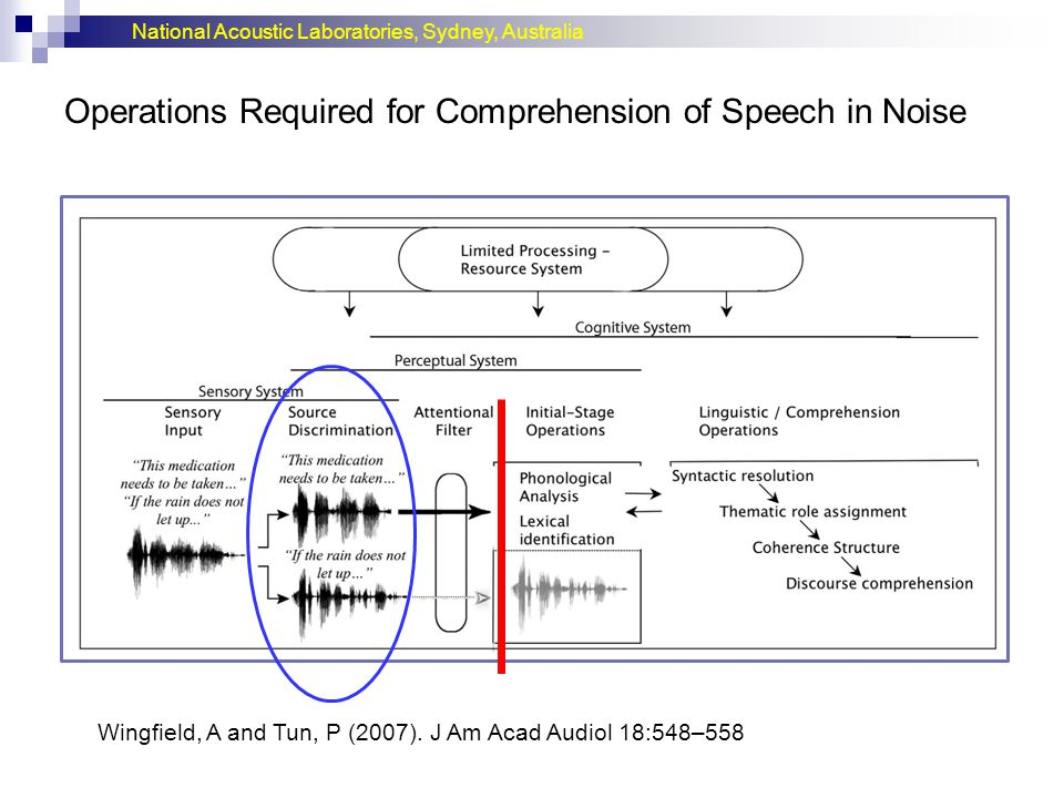 Operations Required for Comprehension of Speech in Noise
