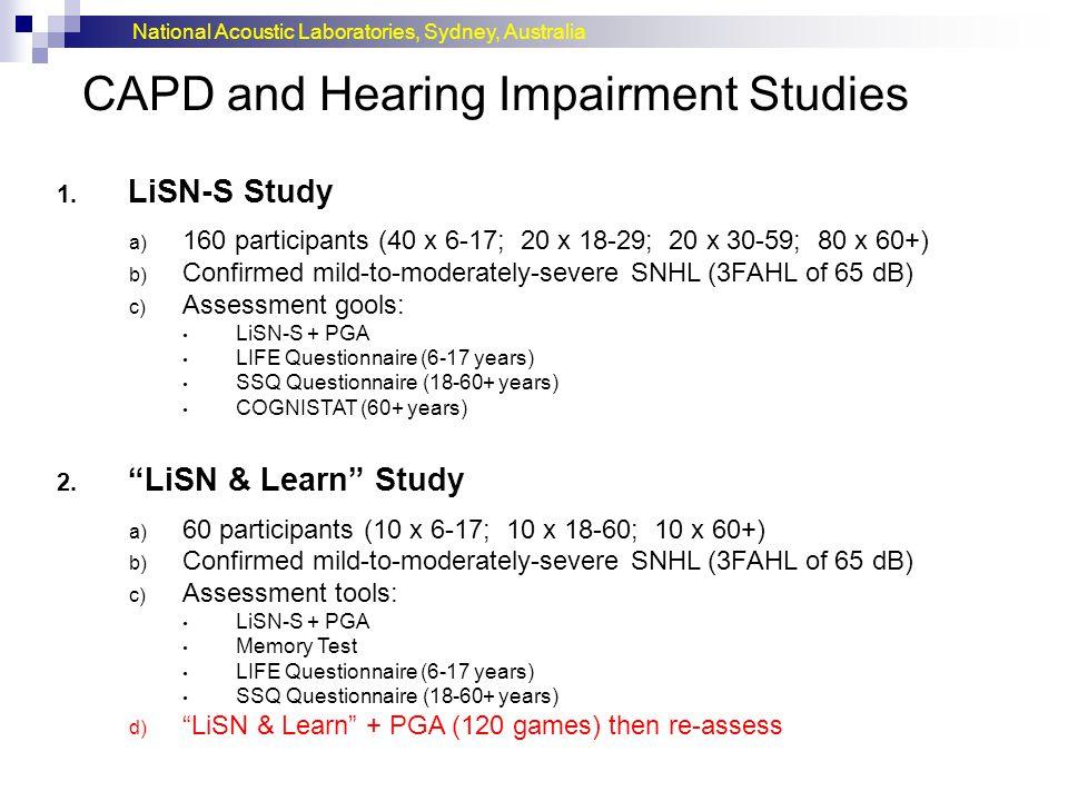 CAPD and Hearing Impairment Studies