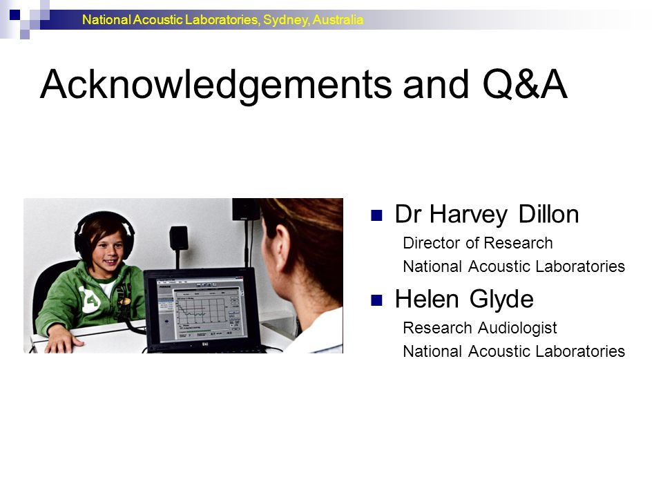 Acknowledgements and Q&A