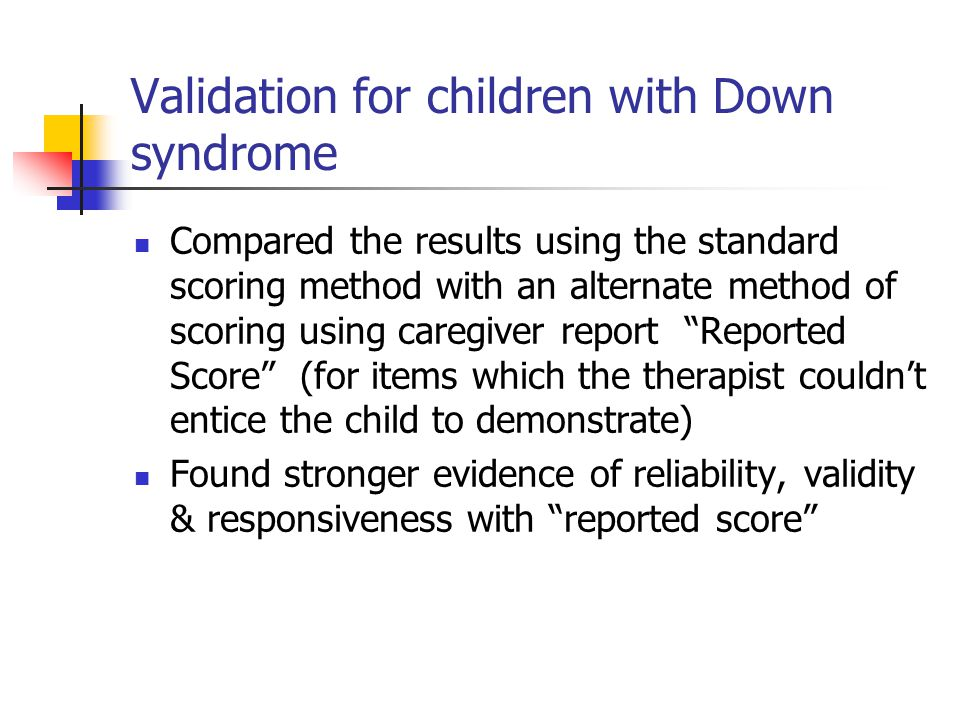 Validation for children with Down syndrome