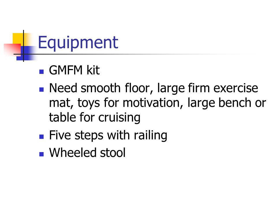 Equipment GMFM kit. Need smooth floor, large firm exercise mat, toys for motivation, large bench or table for cruising.