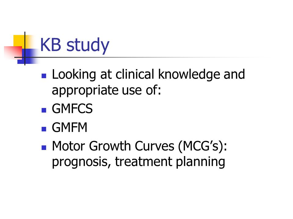 KB study Looking at clinical knowledge and appropriate use of: GMFCS