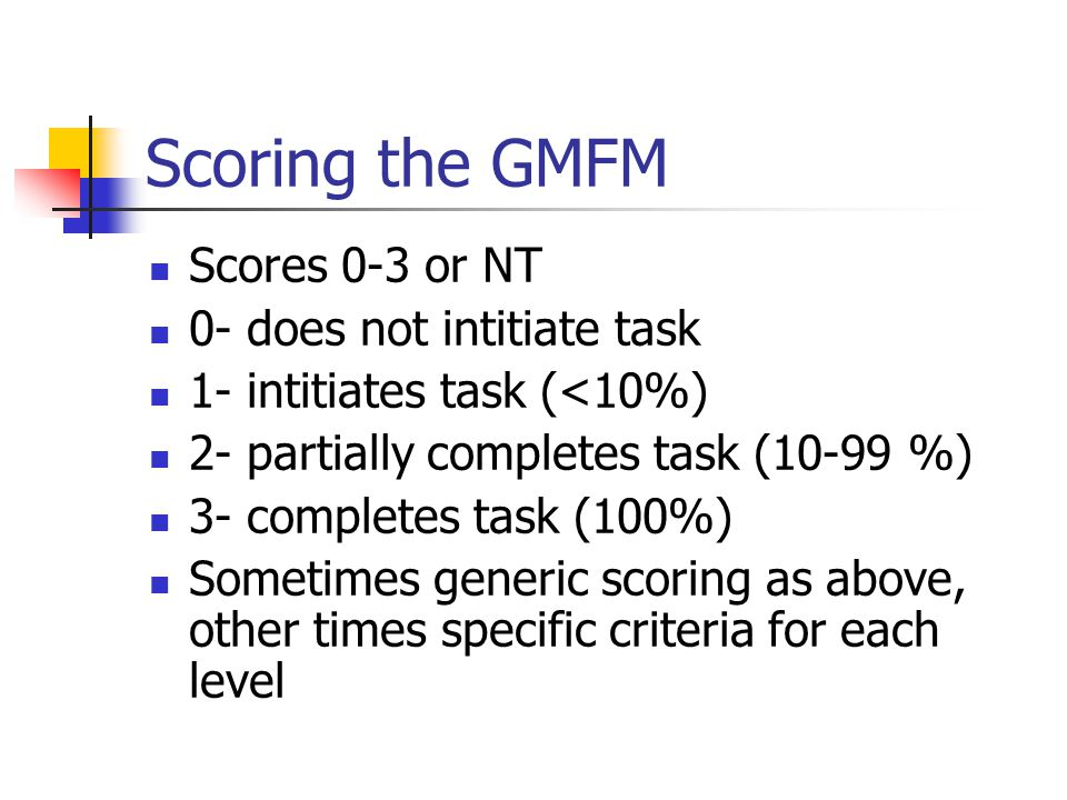 Scoring the GMFM Scores 0-3 or NT 0- does not intitiate task