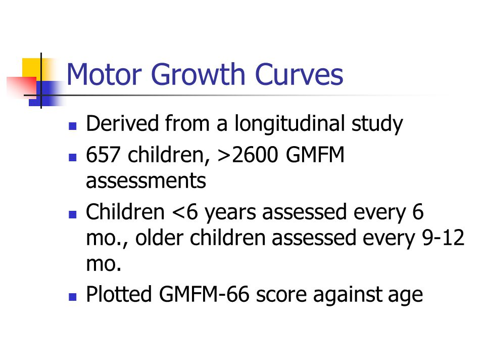 Motor Growth Curves Derived from a longitudinal study