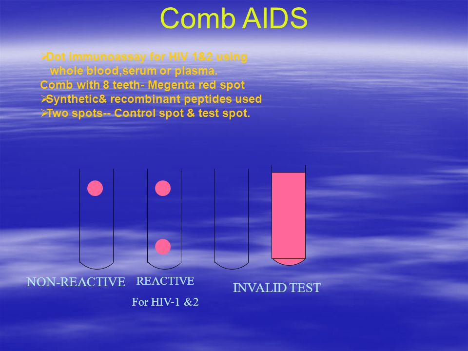 Comb AIDS NON-REACTIVE INVALID TEST Dot immunoassay for HIV 1&2 using