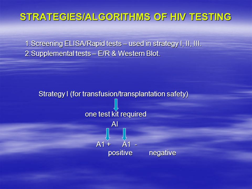 STRATEGIES/ALGORITHMS OF HIV TESTING