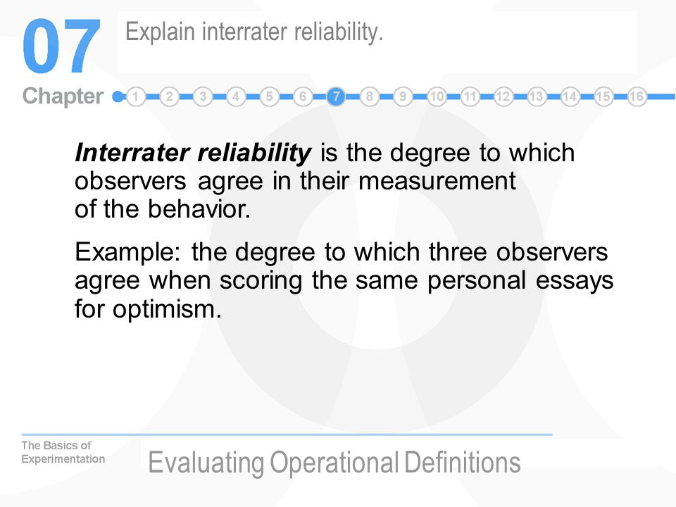 Explain interrater reliability.