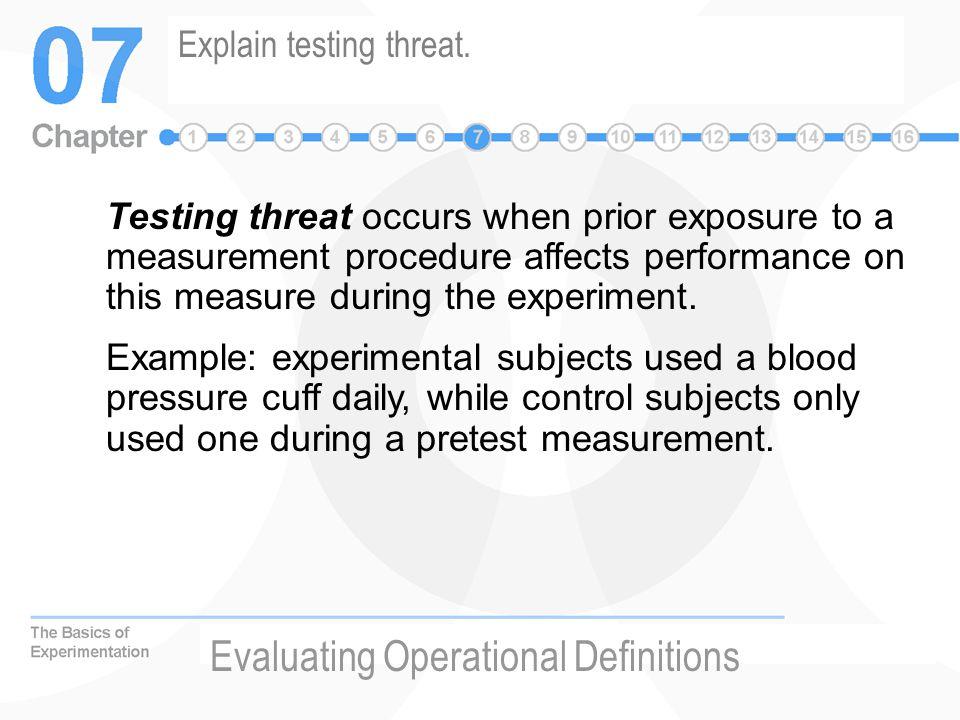 Explain testing threat.