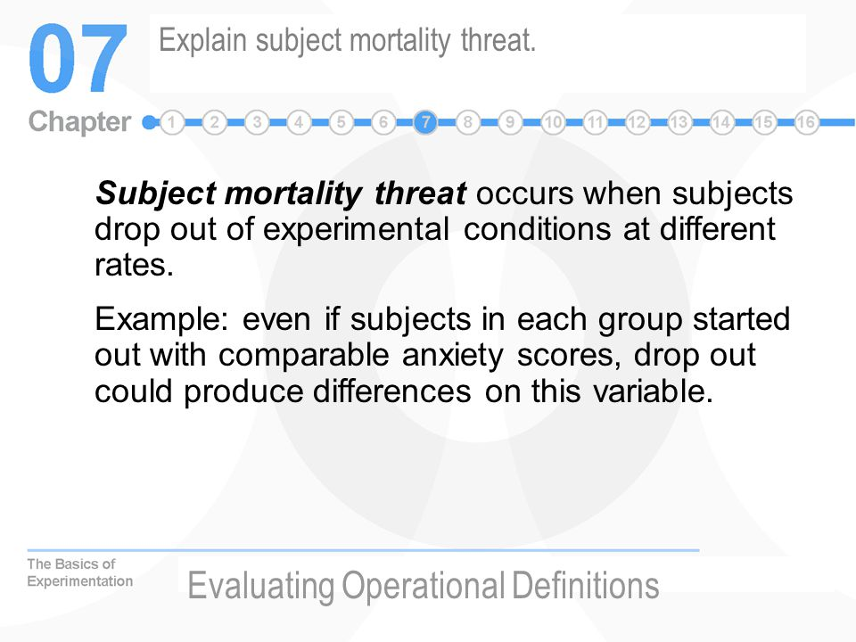 Explain subject mortality threat.
