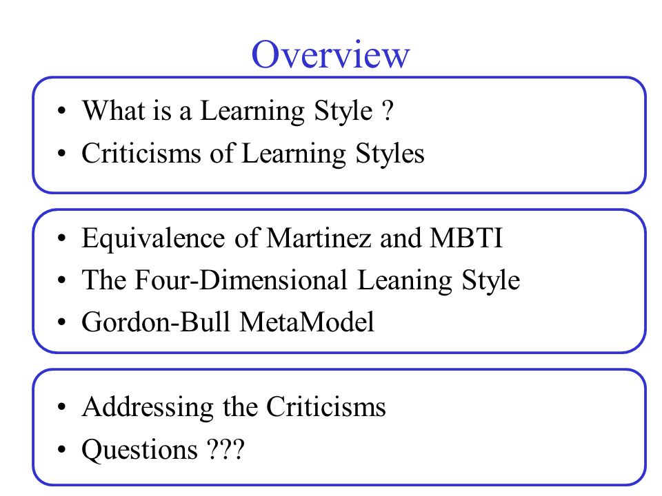 Overview What is a Learning Style Criticisms of Learning Styles