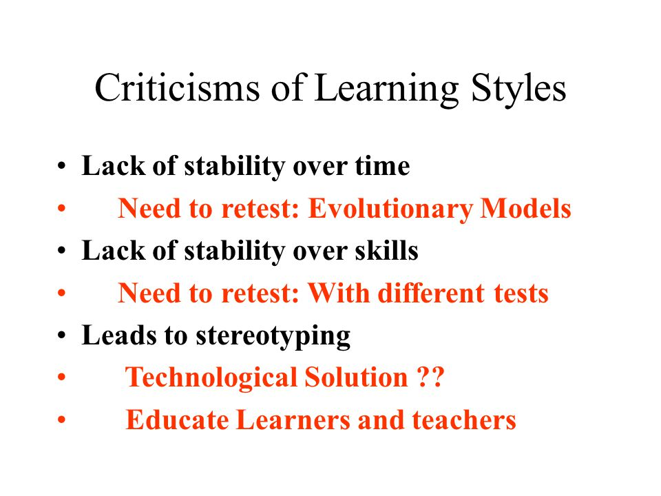 Criticisms of Learning Styles
