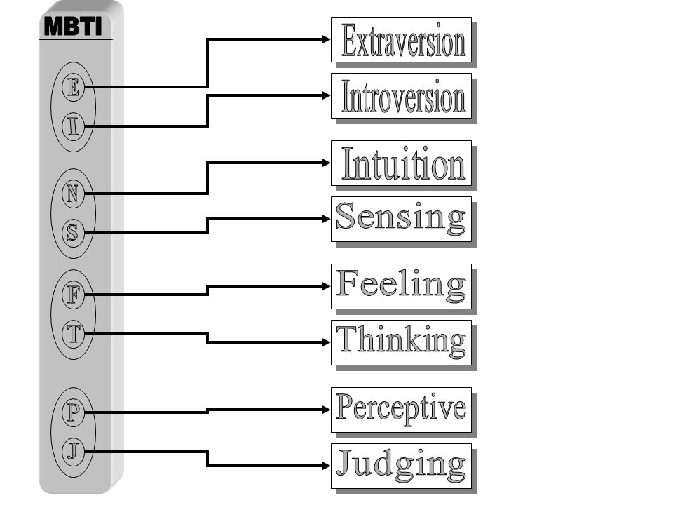 E N S Extraversion Introversion Intuition Sensing Feeling F T Thinking