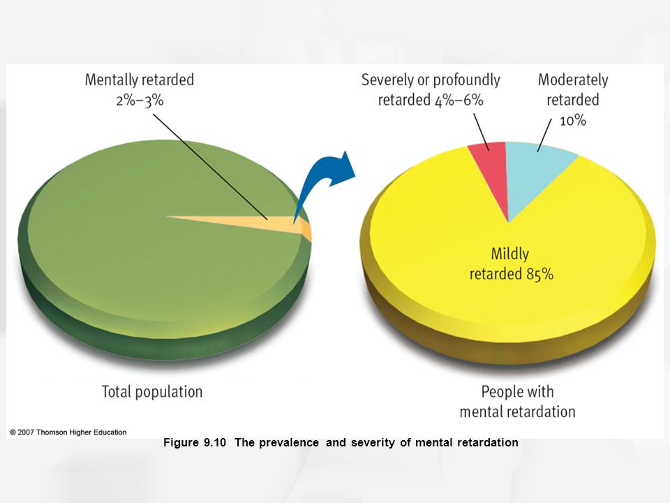 Figure 9.10 The prevalence and severity of mental retardation
