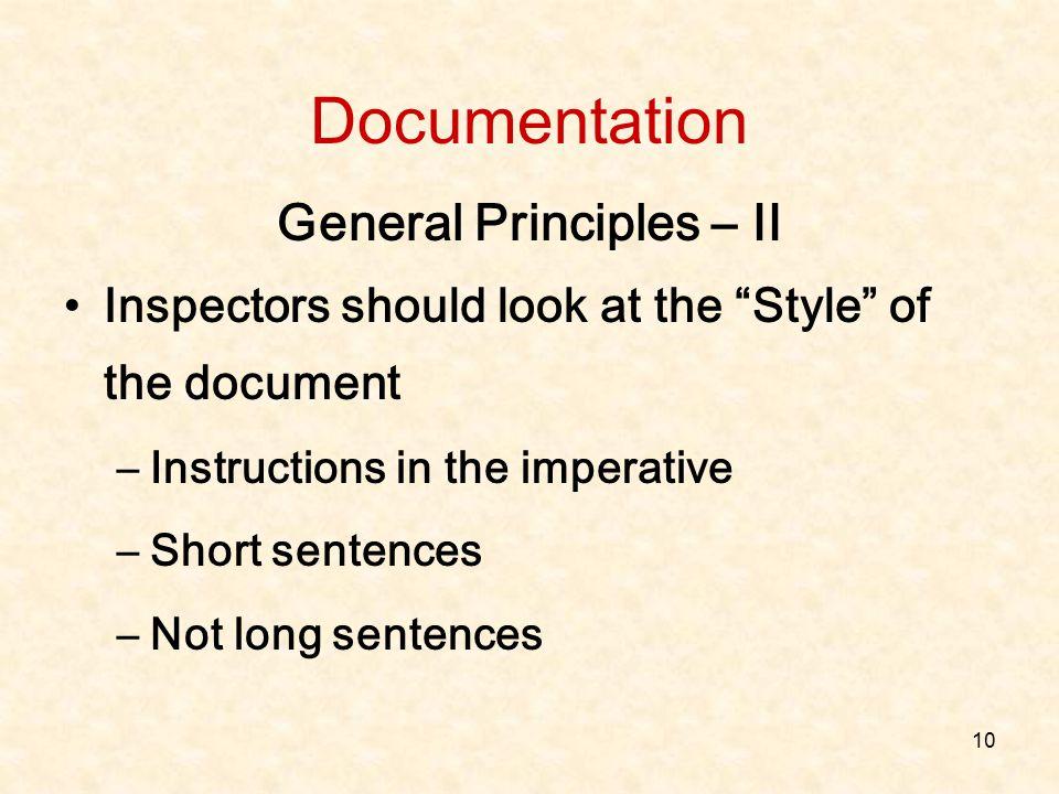 General Principles – II