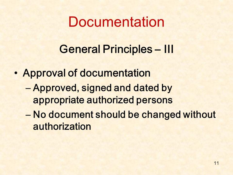 General Principles – III
