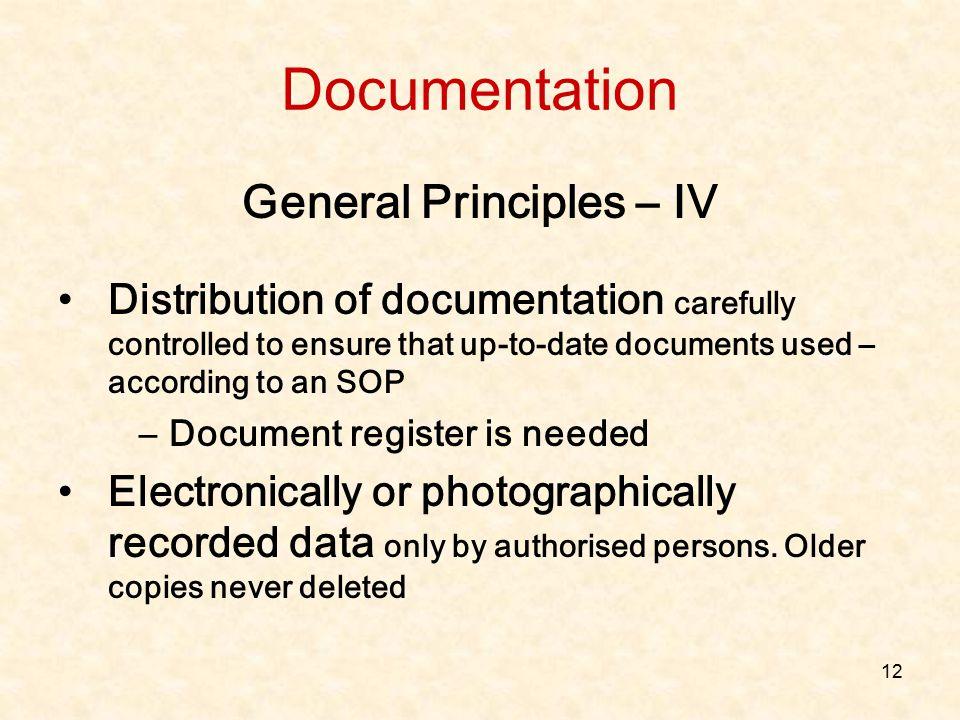 General Principles – IV