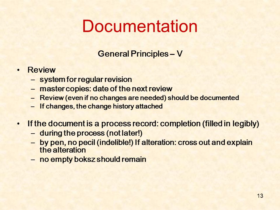 Documentation General Principles – V Review