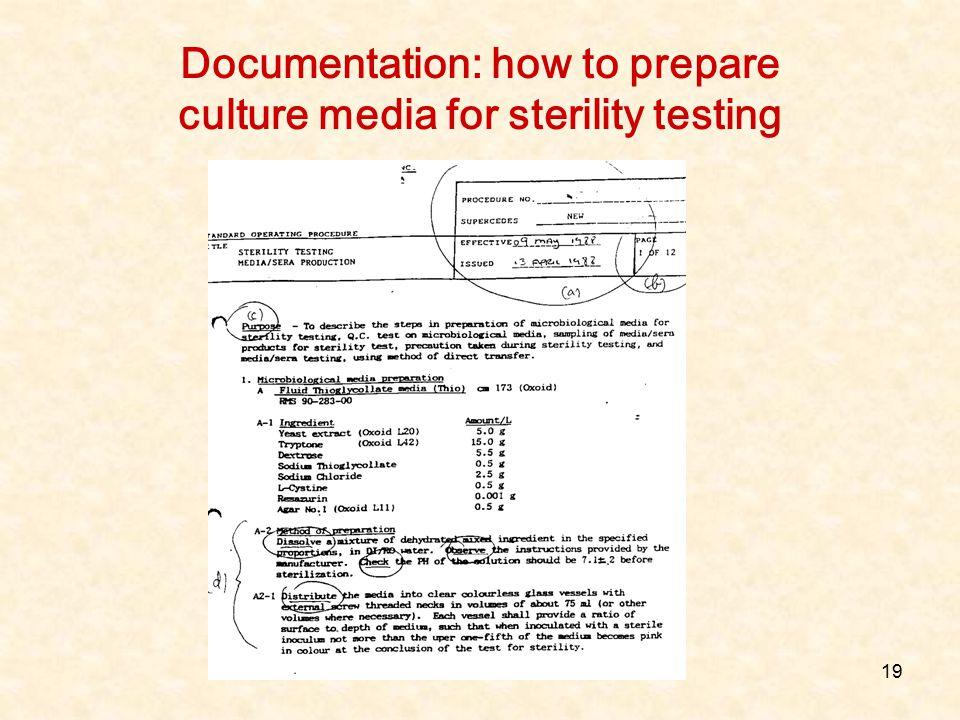 Documentation: how to prepare culture media for sterility testing
