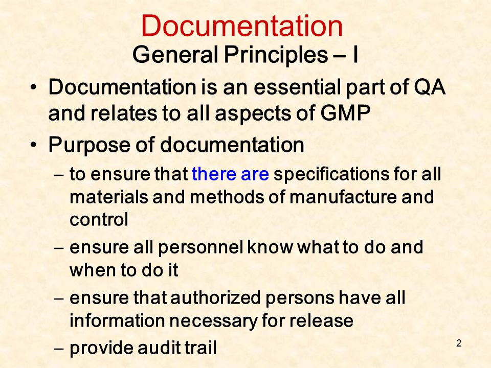 Documentation General Principles – I