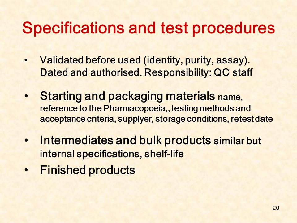 Specifications and test procedures