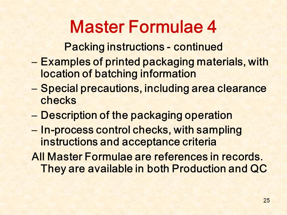 Packing instructions - continued