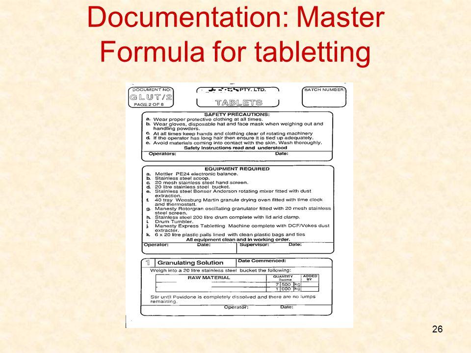 Documentation: Master Formula for tabletting