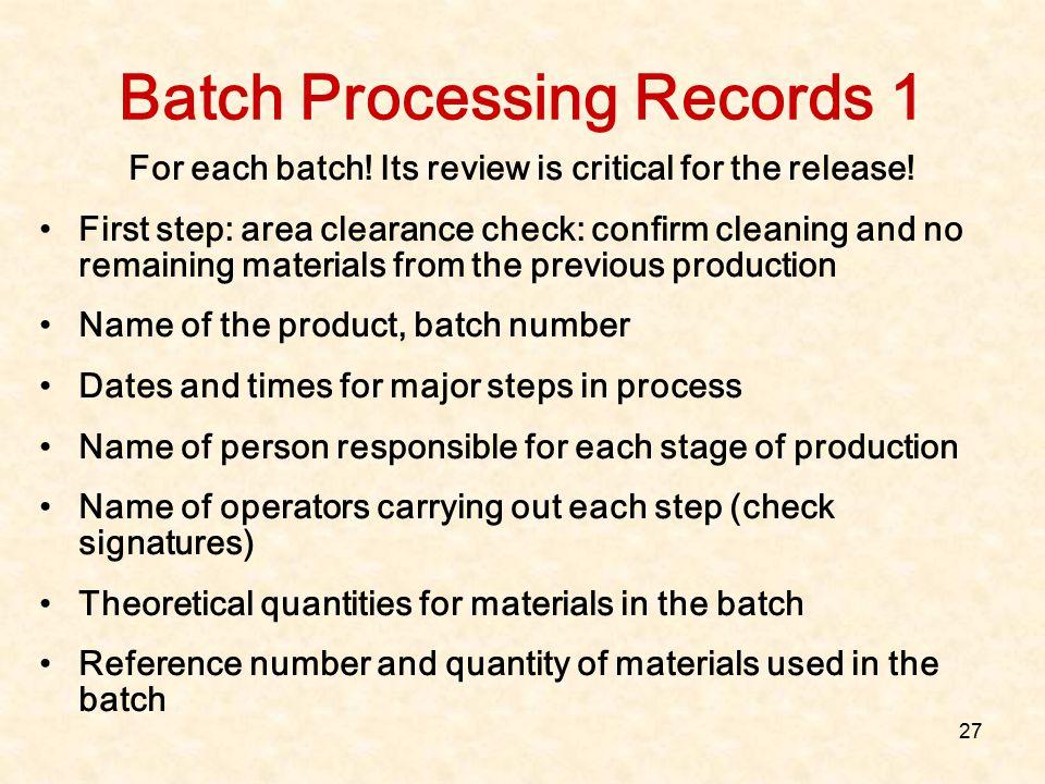 Batch Processing Records 1
