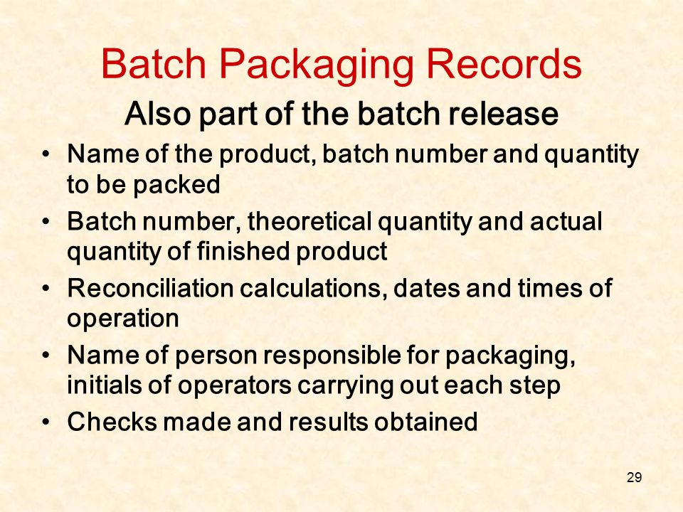 Batch Packaging Records