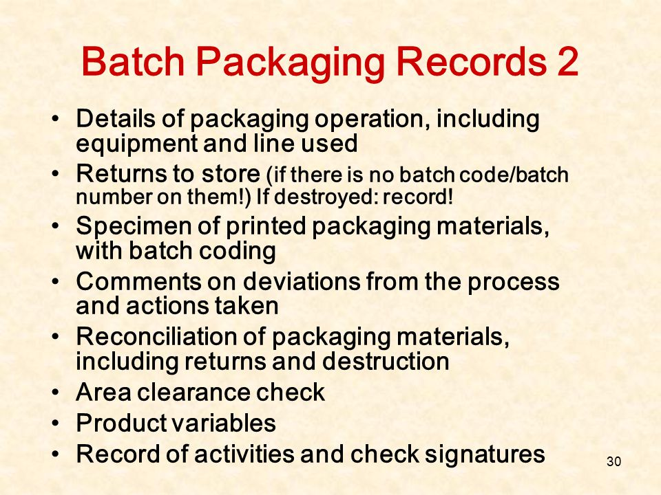 Batch Packaging Records 2