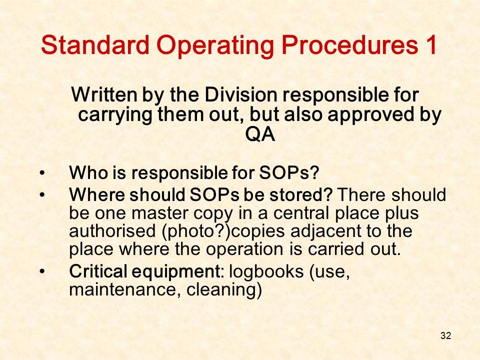 Standard Operating Procedures 1