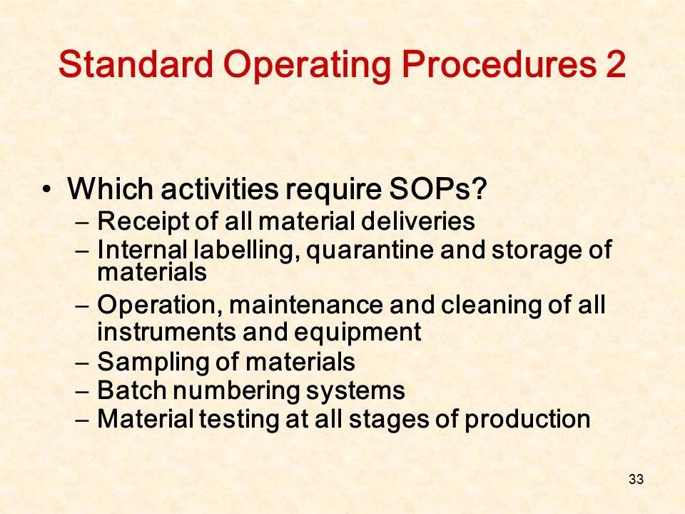 Standard Operating Procedures 2