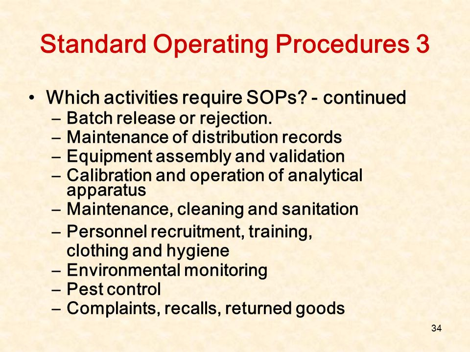 Standard Operating Procedures 3