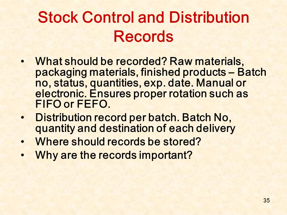 Stock Control and Distribution Records