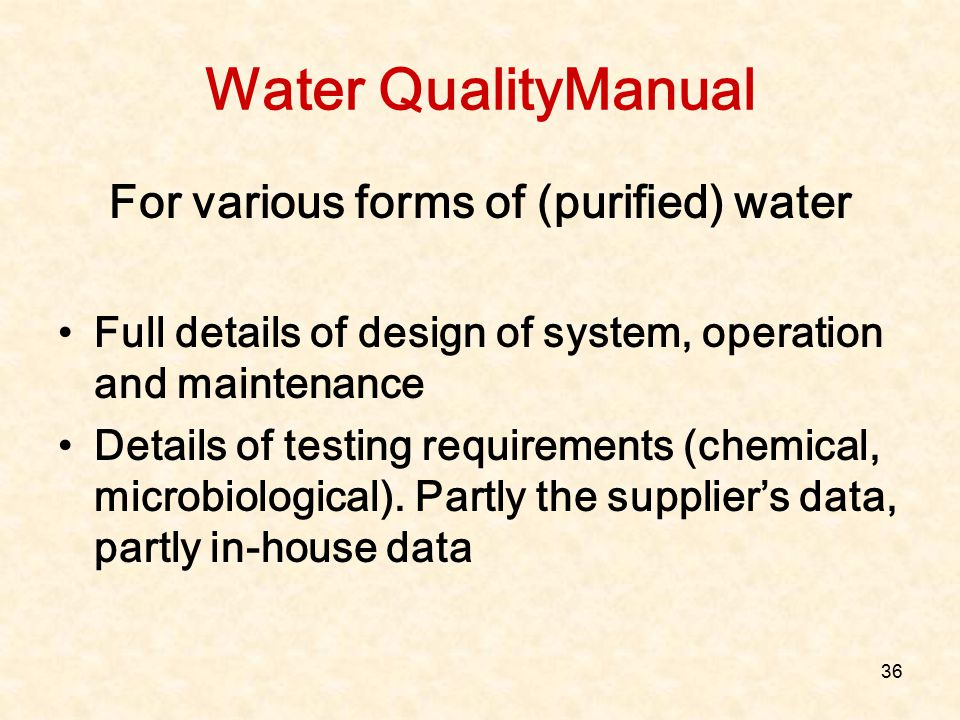 For various forms of (purified) water