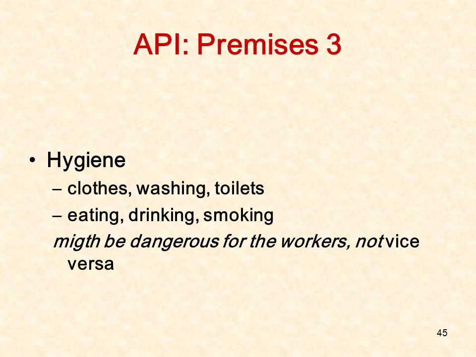 API: Premises 3 Hygiene clothes, washing, toilets