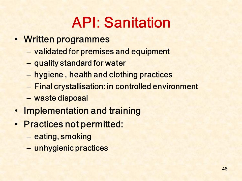 API: Sanitation Written programmes Implementation and training
