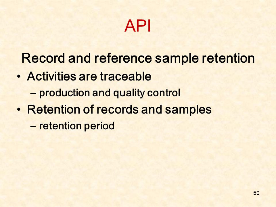 Record and reference sample retention