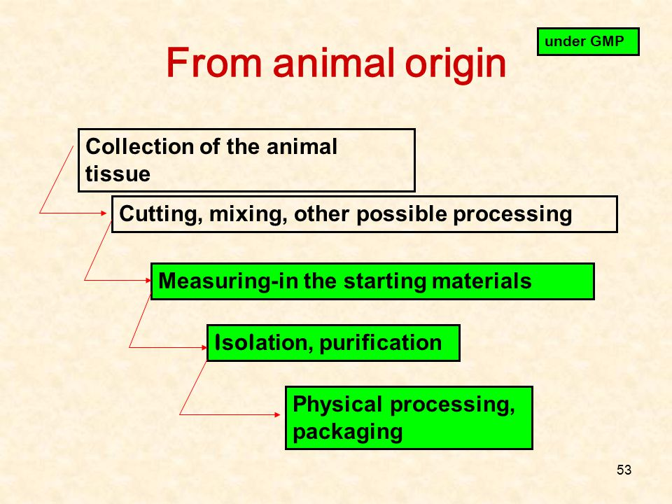 From animal origin Collection of the animal tissue