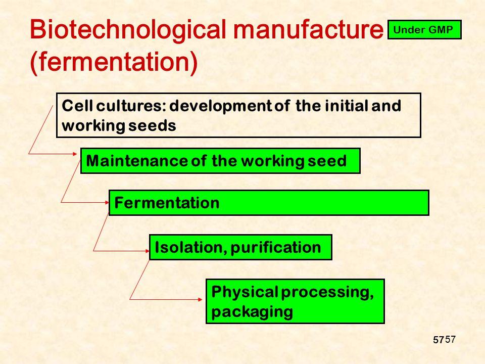 Biotechnological manufacture (fermentation)