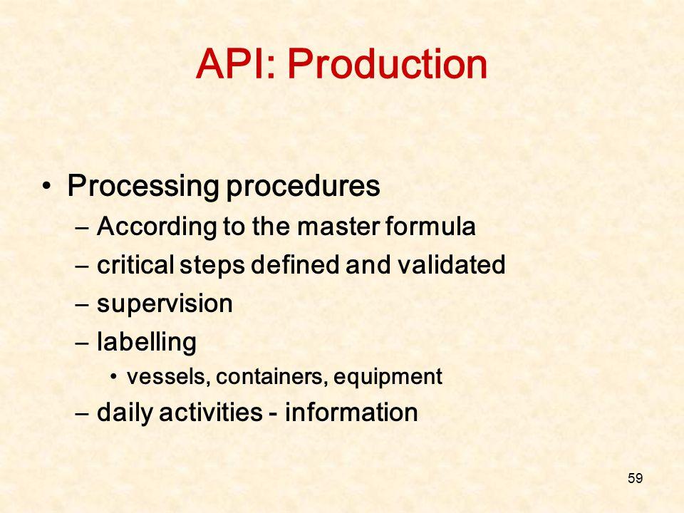 API: Production Processing procedures According to the master formula