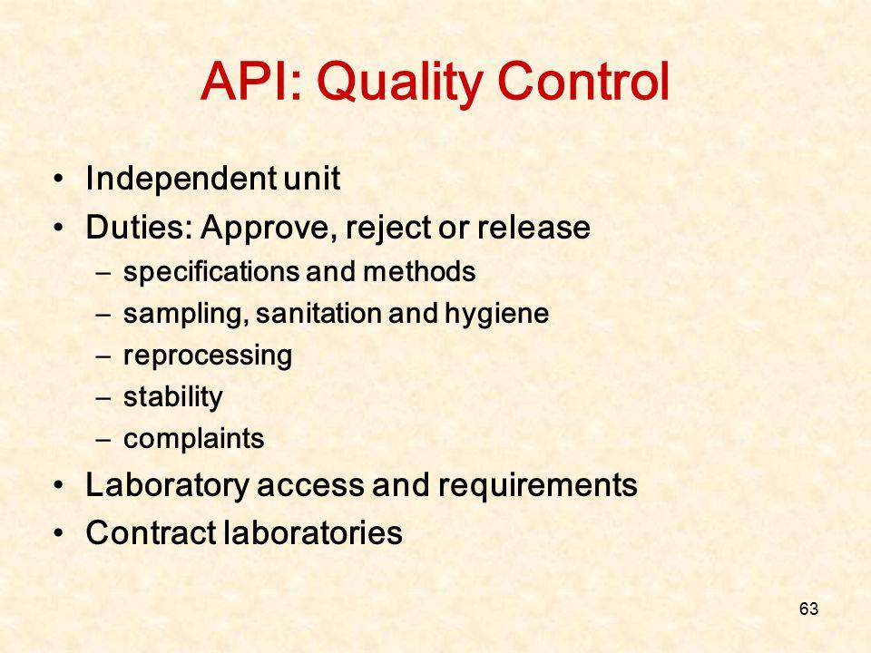 API: Quality Control Independent unit