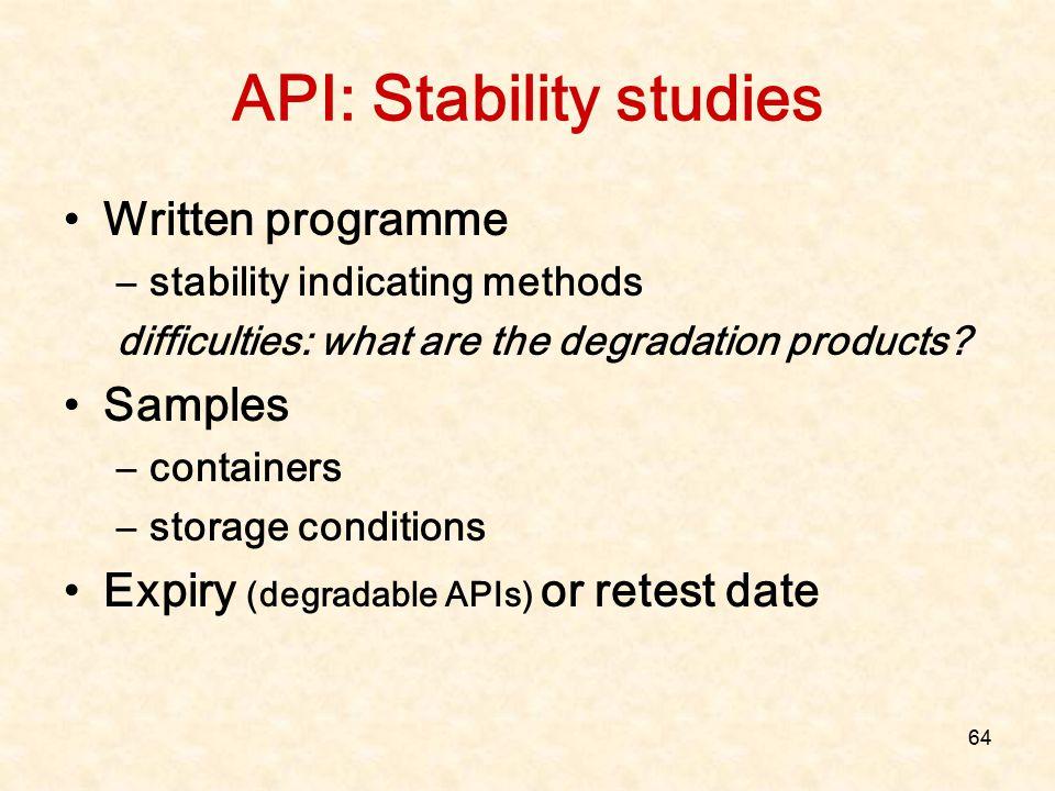 API: Stability studies
