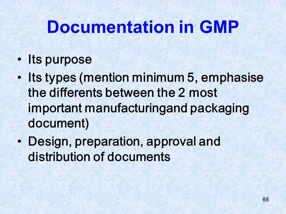 Documentation in GMP Its purpose